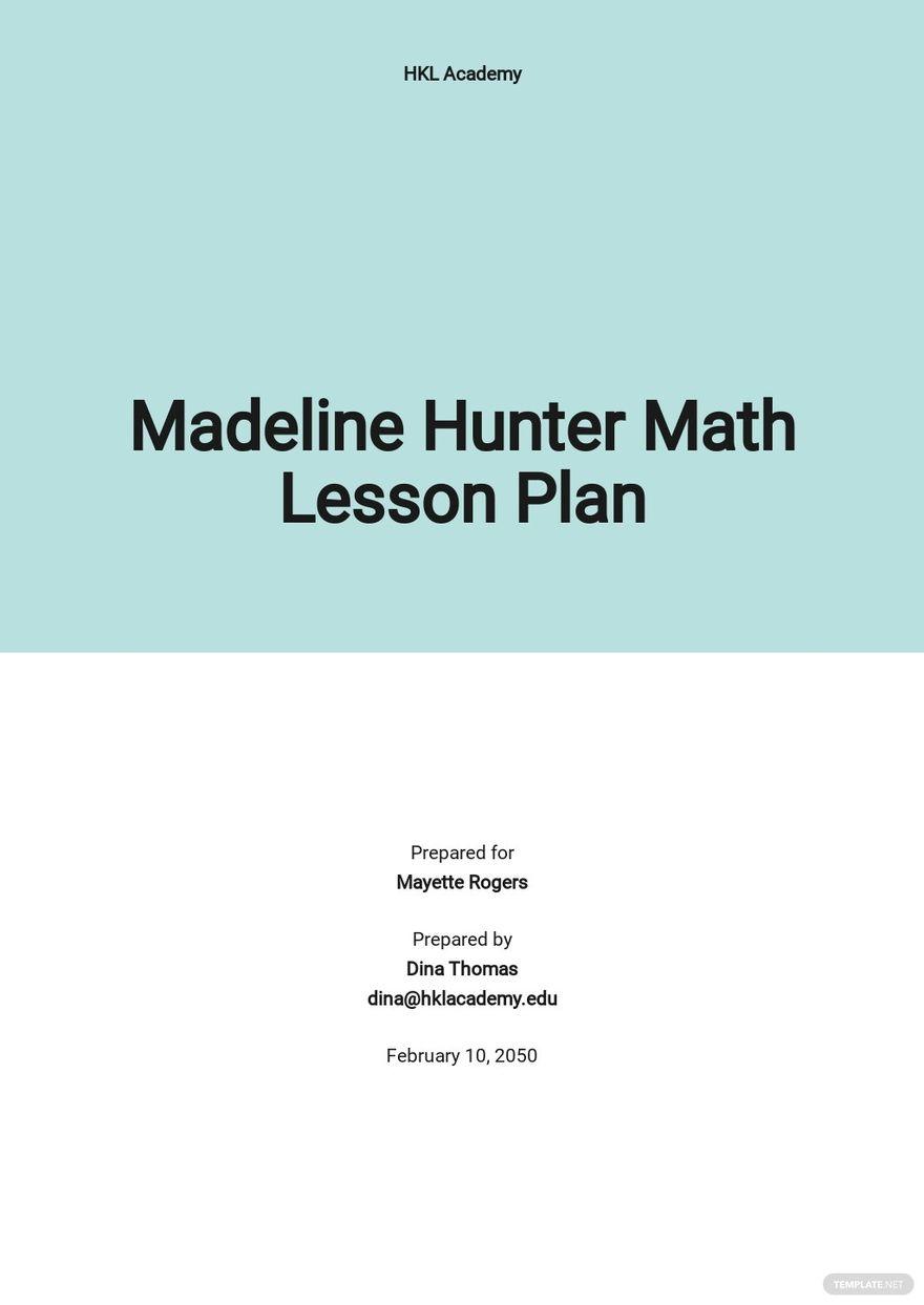 Madeline Hunter Math Lesson Plan Template.jpe