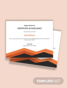 Free Simple Certificate of Excellence Template