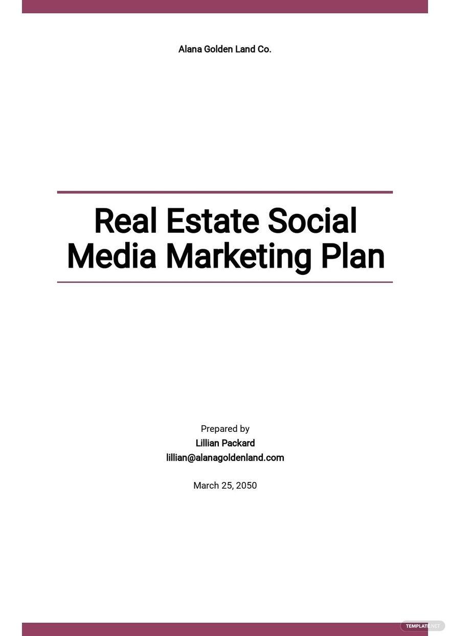 Real Estate Social Media Marketing Plan Template