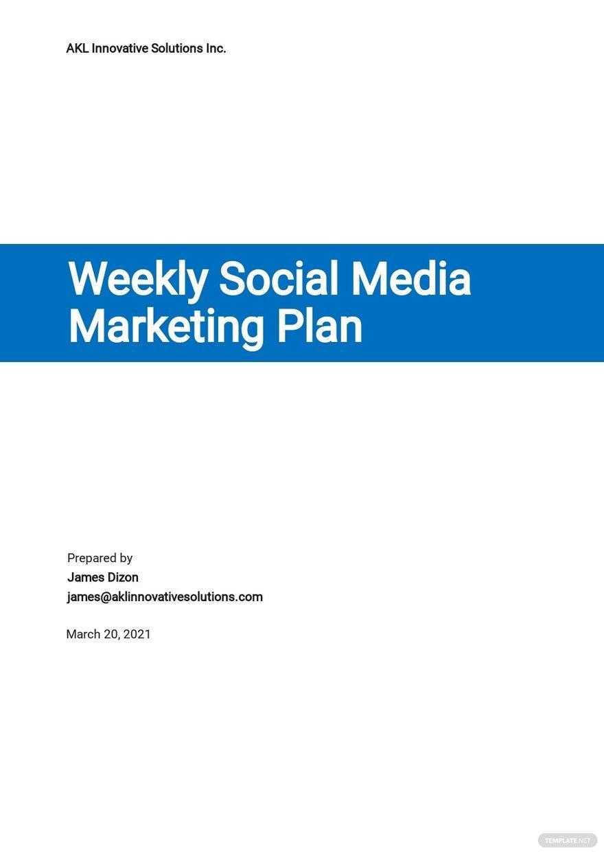 Weekly Social Media Marketing Plan Template