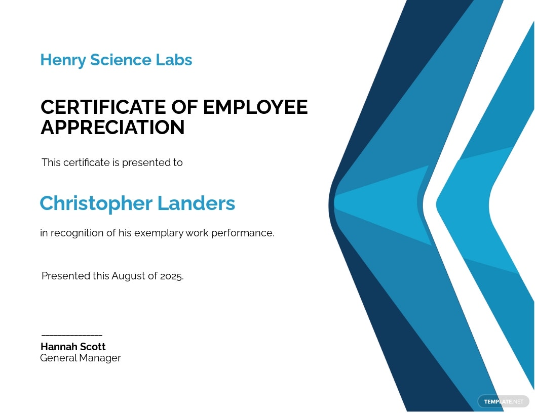 Printable Employee Appreciation Certificate Template