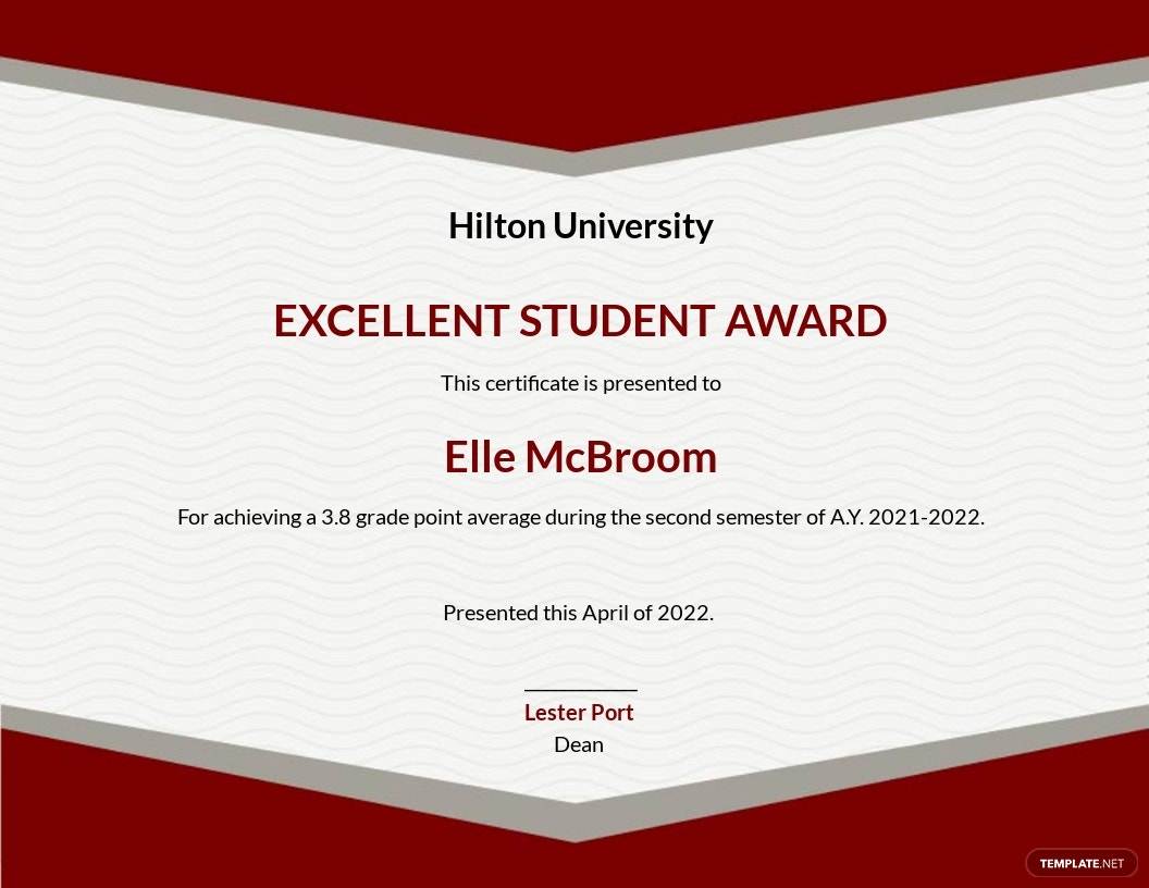 Student Appreciation Certificate Template