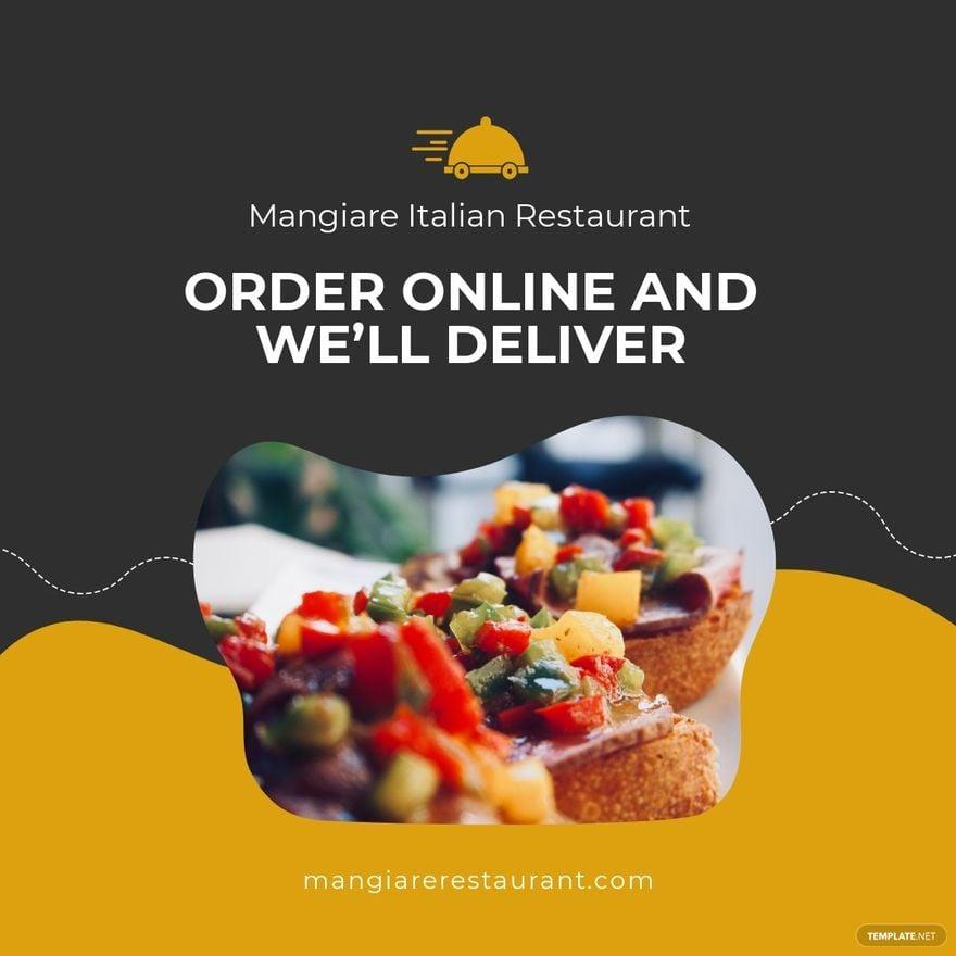 Restaurant Delivery Instagram Post Template.jpe