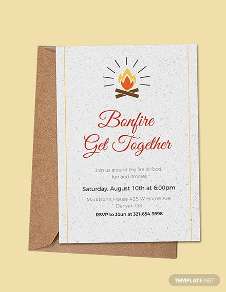 free bonfire get together invitation template download 344