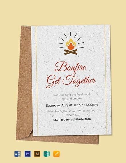 free bonfire get together invitation template