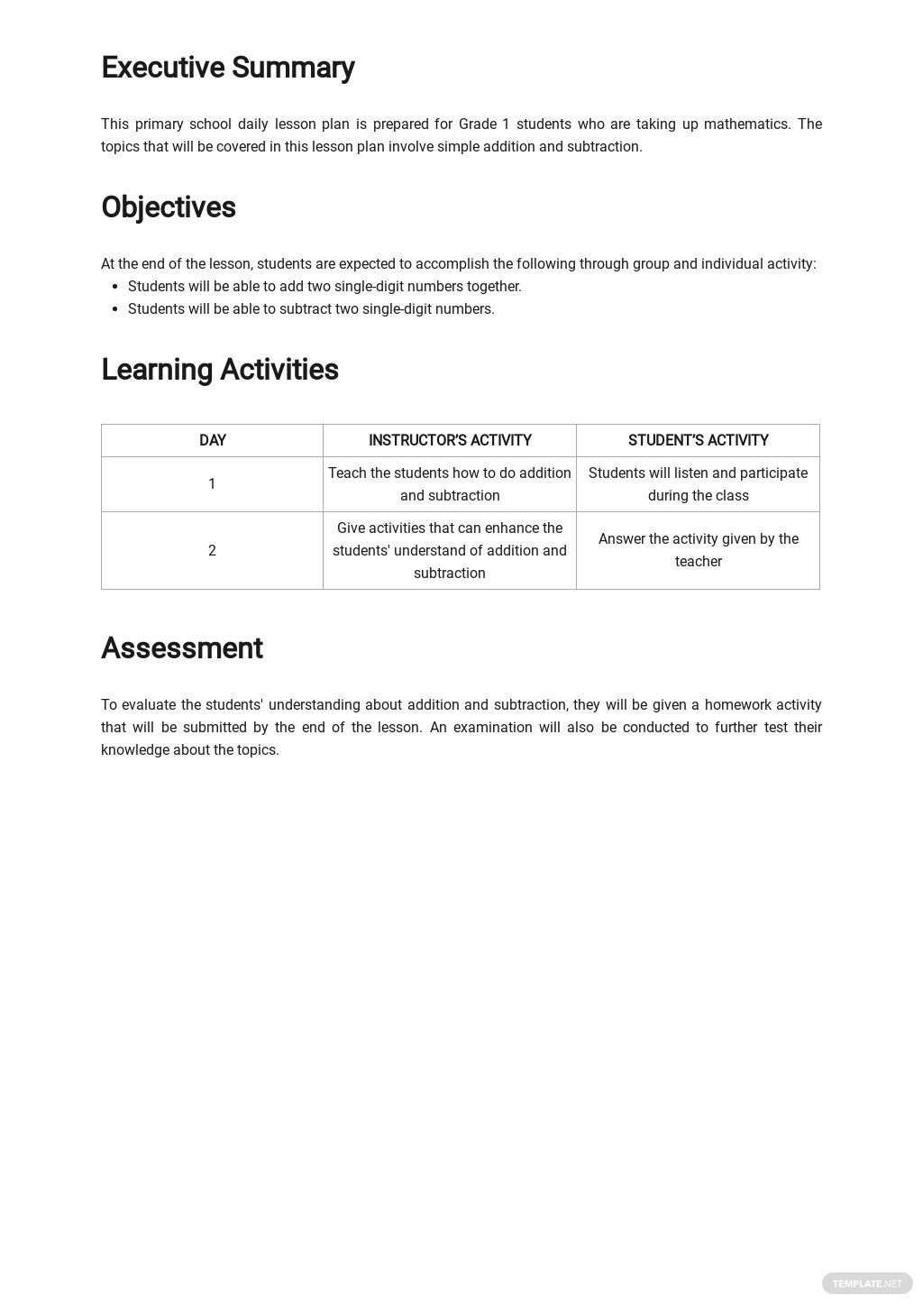 Primary School Daily Lesson Plan Template 1.jpe