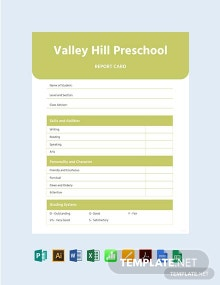 Blank Preschool Report Card Template
