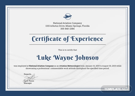 free company experience certificate template download 200 certificates in psd illustrator indesign word publisher pages templatenet - Indesign Certificate Template
