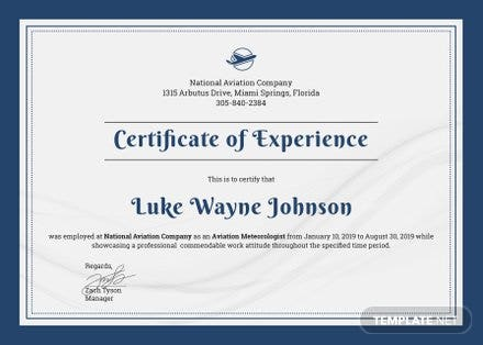 Free Company Experience Certificate Template in Adobe Photoshop ...
