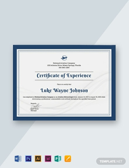 free company experience certificate template  download 485