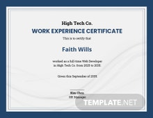 Free Company Experience Certificate Template