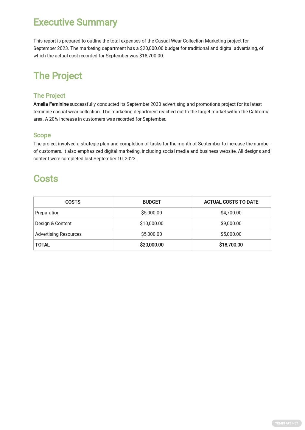 Monthly Business Expense Report Template Free PDF - Word ...
