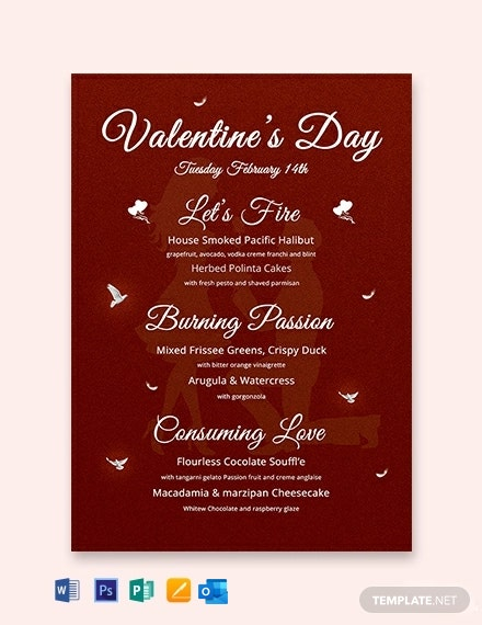 Free Happy Valentine's Day Menu