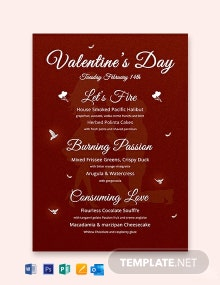 Happy Valentine's Day Menu Template