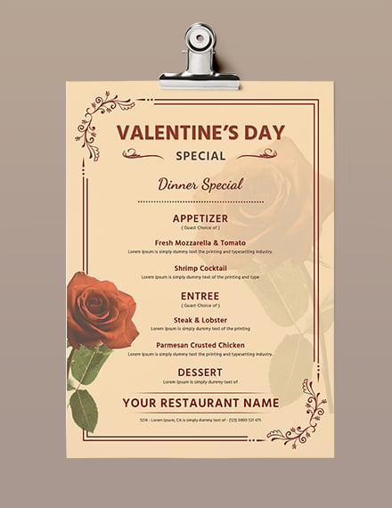 Free Editable Valentine's Day Menu