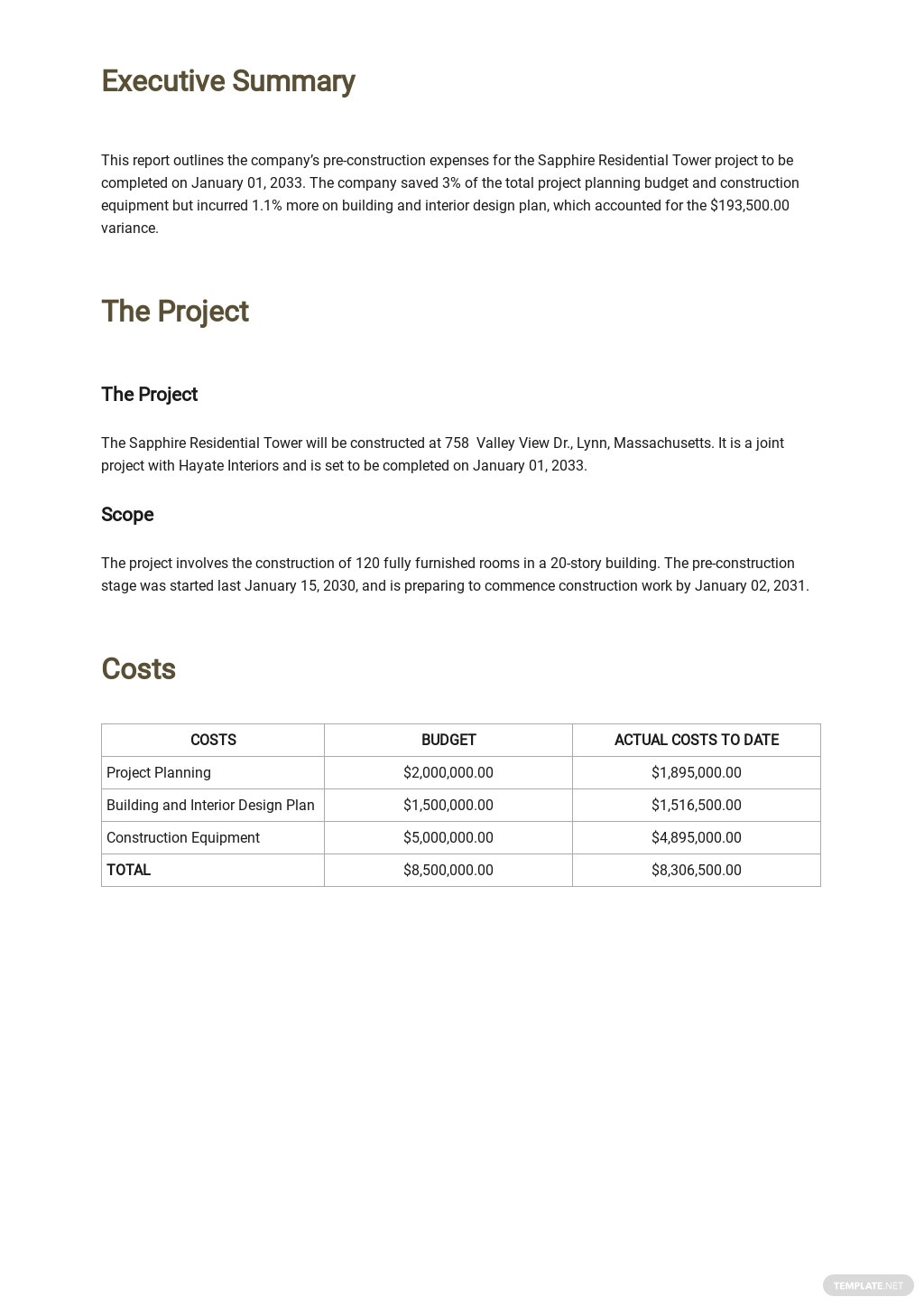 Free Construction Expense Report Template 1.jpe