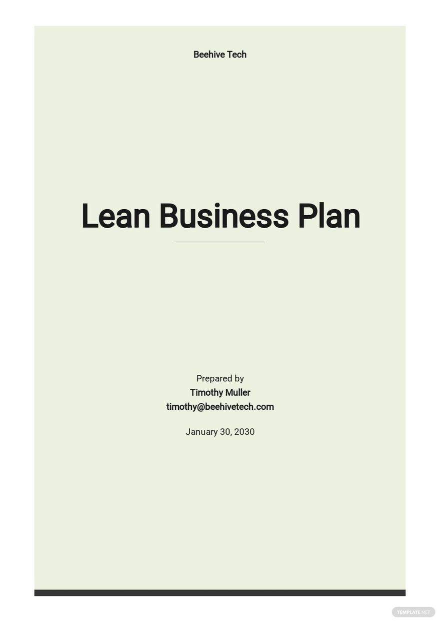 Sample Lean Business Plan Template.jpe