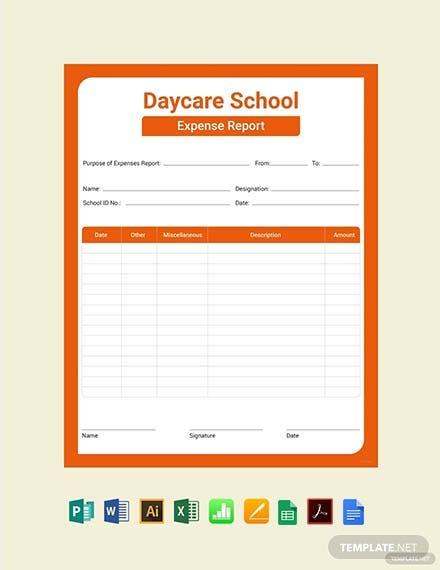 Free Daycare Expense Report Template