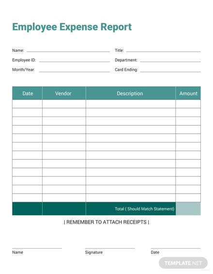 free employee expense report template