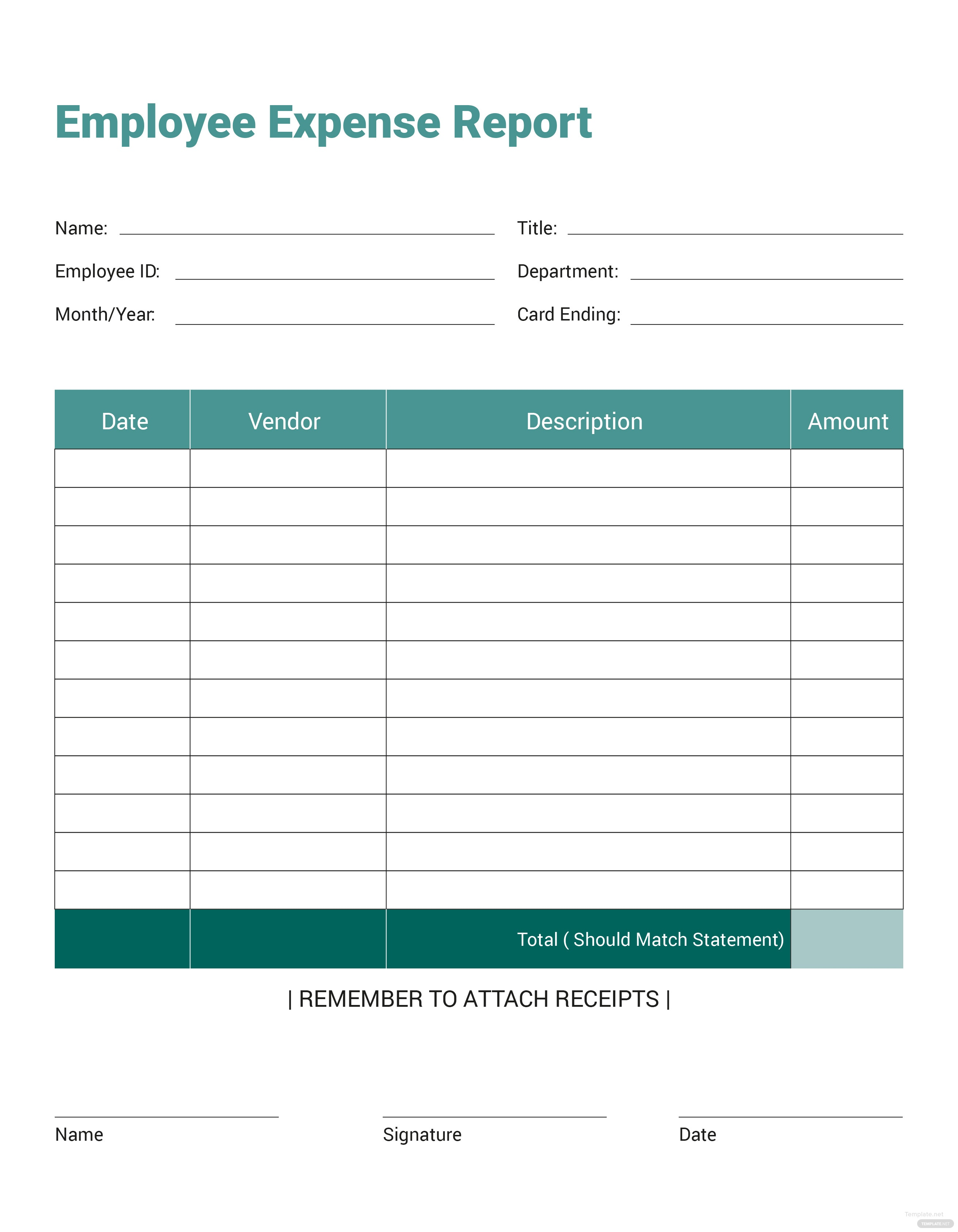 Free Employee Expense Report Template In Microsoft Word