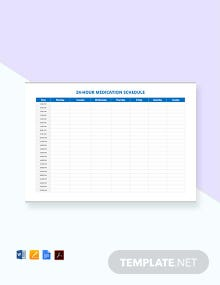 Free 24 Hour Medication Schedule Template