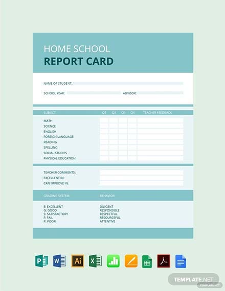 home school report card template 1