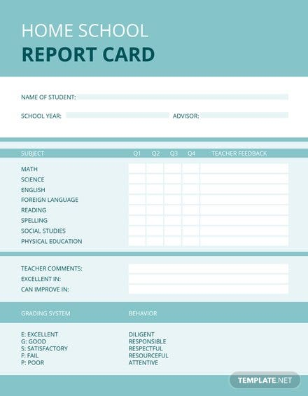 Free Home School Report Card Template