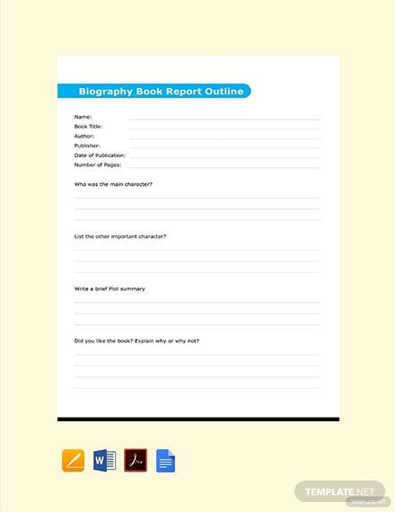 Biography Book Report Outline Template
