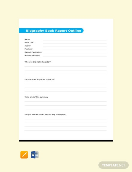 Free Biography Book Report Outline Template