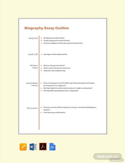 Free Biography Essay Outline Format Template