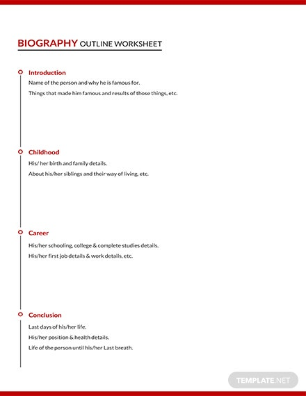 Free Biography Outline Worksheet Template