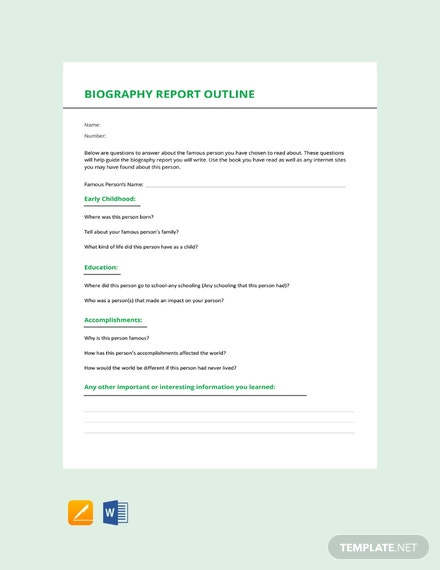 free biography book report outline template download 20 outlines