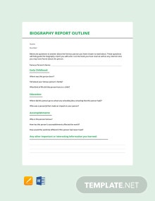 Biography Report Outline Template