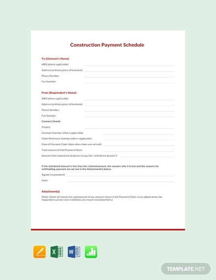 Free Construction Payment Schedule Template