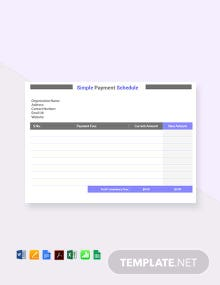 Free Simple Payment Schedule Template