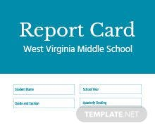 Middle School Report Card Template