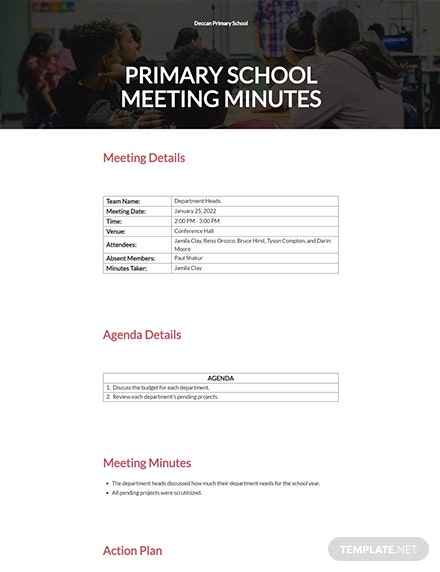 Free Primary School Meeting Minutes Template