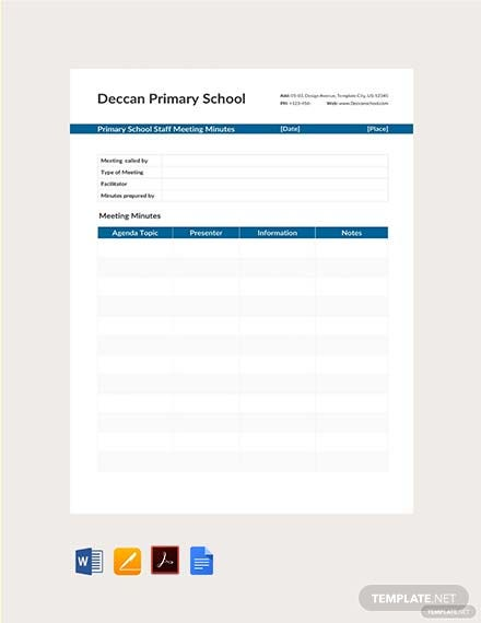 Free Primary School Staff Meeting Minutes Template