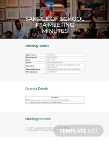 Free Sample Minutes of School PTA Meeting Template