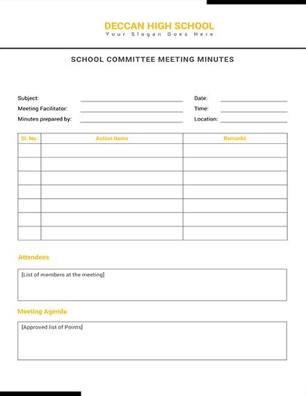 School Committee Meeting Minutes Template