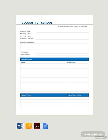 Free School Department Meeting Minutes Template