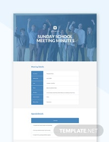 Free Sunday School Meeting Minutes Template