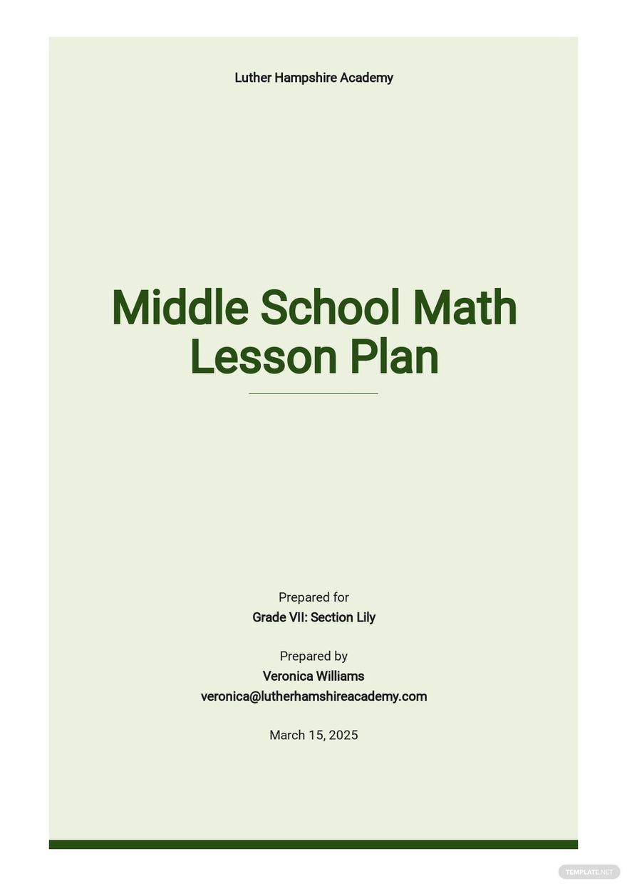 Sample Middle School Math Lesson Plan Template.jpe