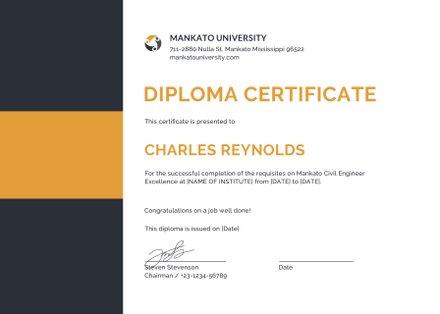 Free diploma of graduation certificate template free templates free civil diploma certificate template yelopaper Gallery