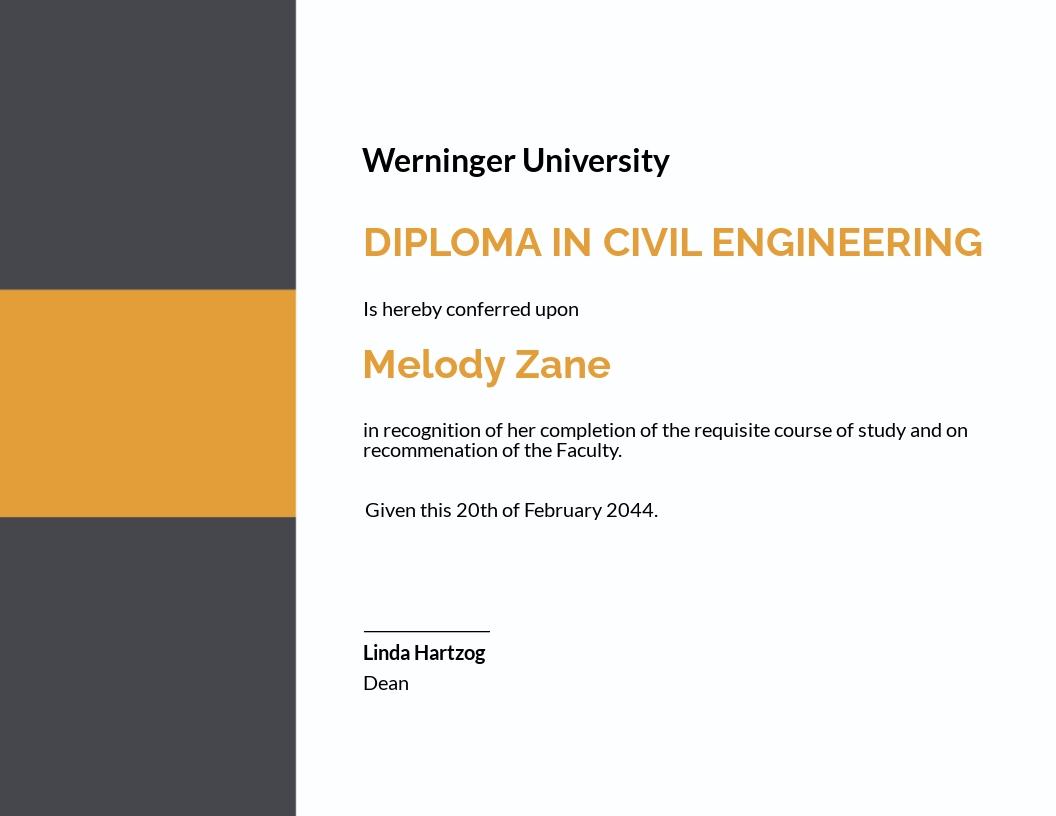 Free Civil Diploma Certificate Template.jpe