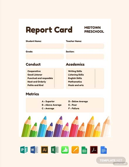 Free Preschool Progress Report Card Template