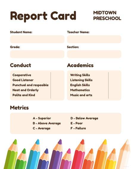 free preschool report card template in microsoft word microsoft