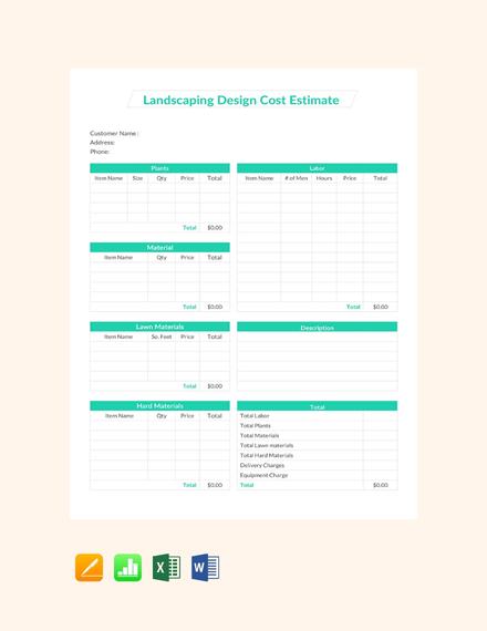 Free Landscape Design Cost Estimate Template