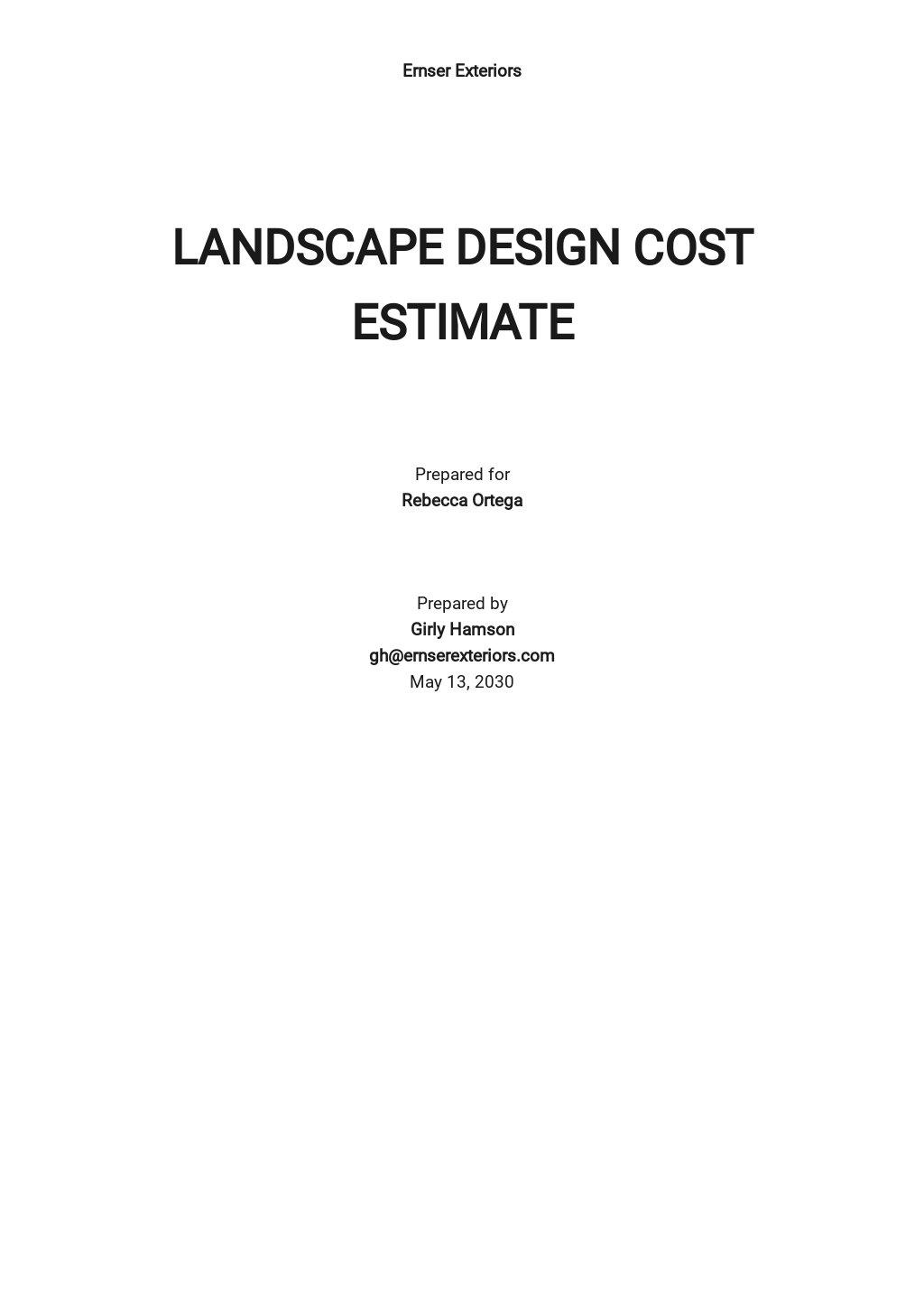 Landscape Design Cost Estimate Template
