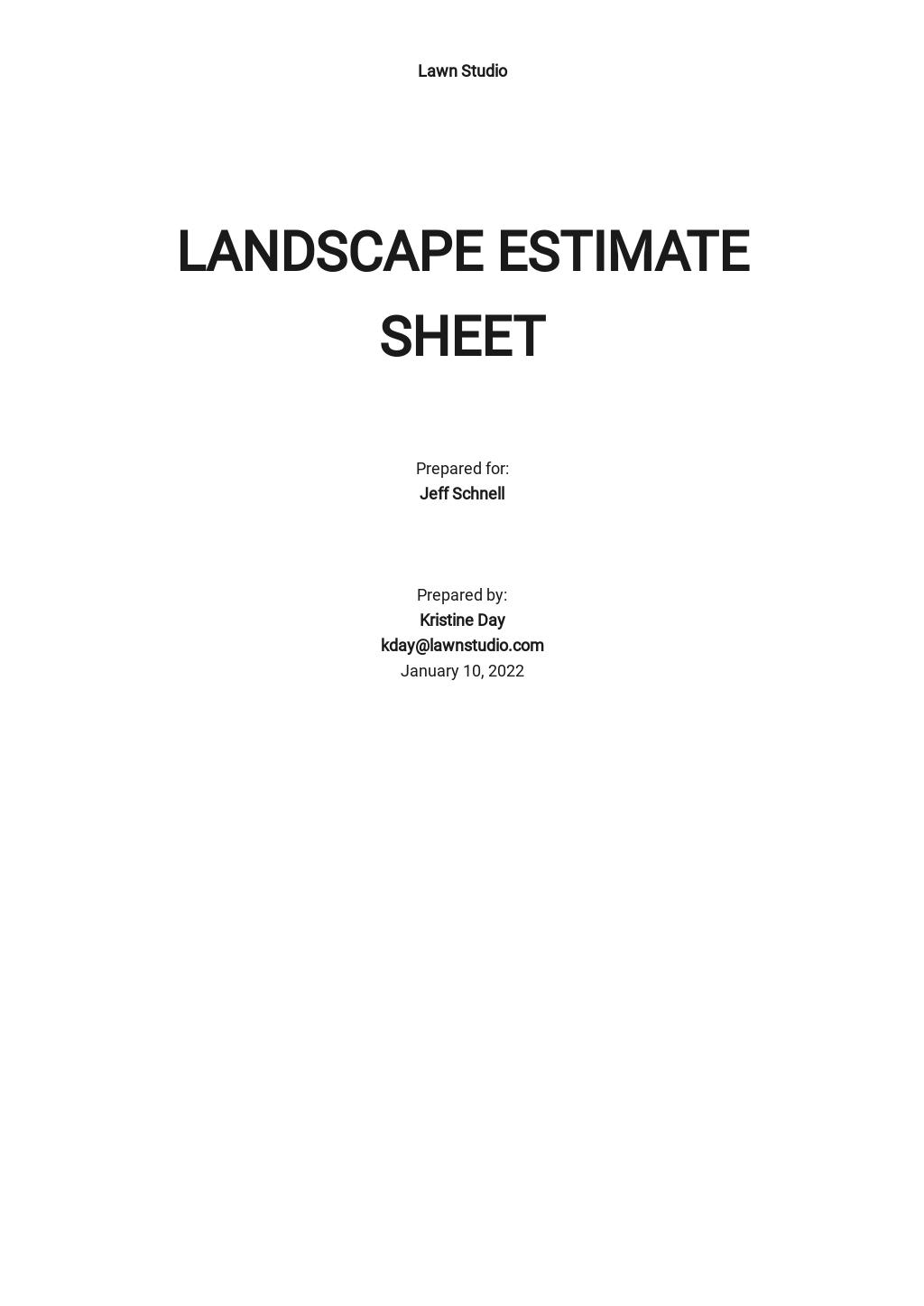 Landscape Estimate Sheet Template